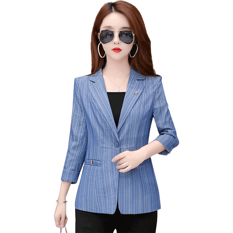 Suit Blue Red New Coat Europe Fashion Loose All-match Women's Spring Autumn Lake Peacock Blue Online