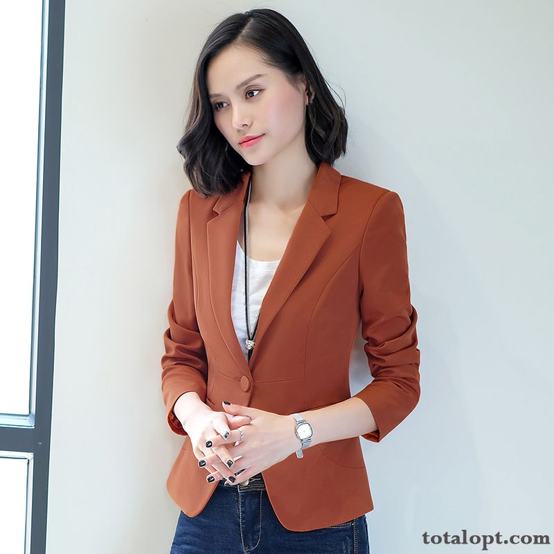 Suit Coat Long Sleeves Leisure Women's Autumn Temperament Europe New Spring Lady Thin Slim Chocolate Sienna For Sale
