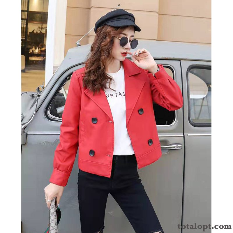 Suit Coat Trend Leather All-match Autumn Small Style Loose Spring Jacket Women's New Red Popular Short Deep Yellow Ivory White