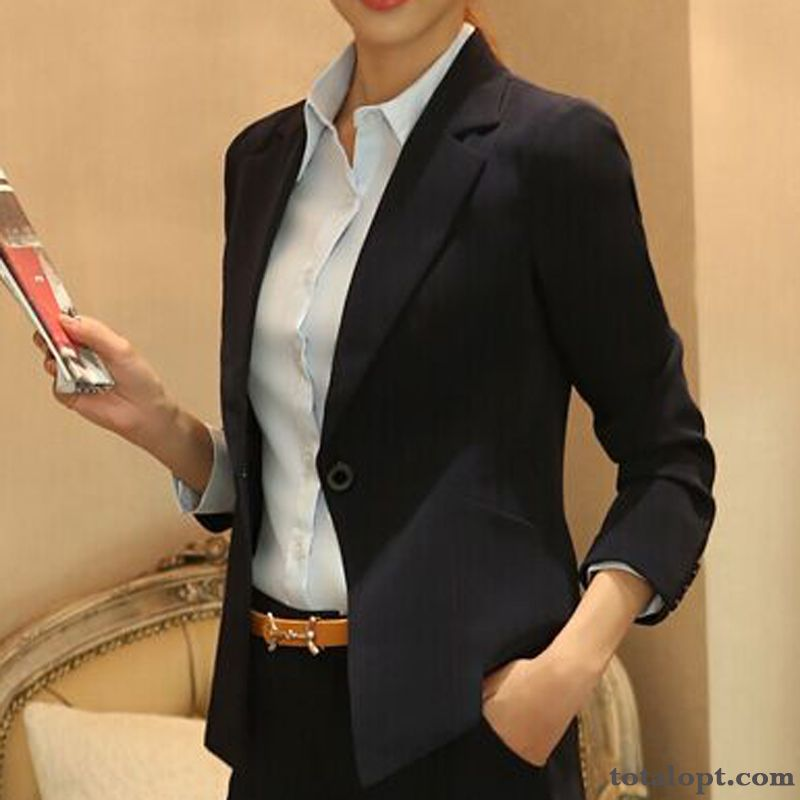 Suit Dress Trend Slim Coat Short Spring Women's Black Autumn Europe Leisure Cyan Grey Black Online
