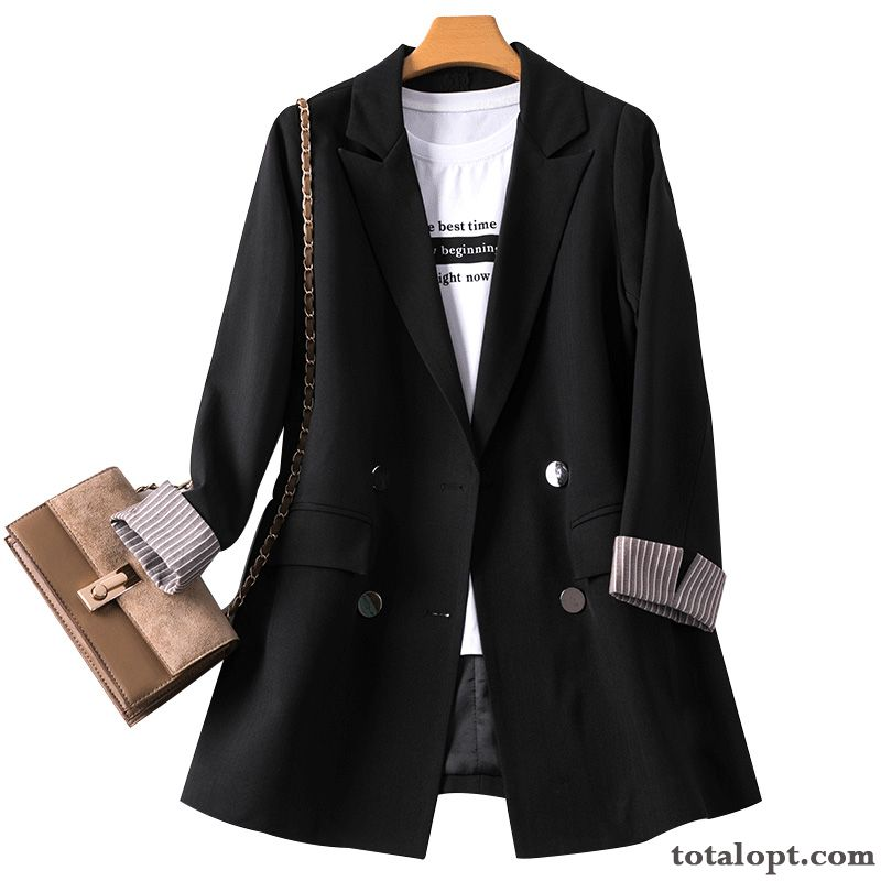 Suit Red Women's Leisure Summer Spring Coat Skinny Black Europe All-match Lake Yellow