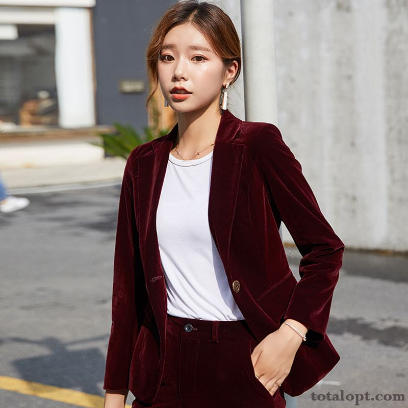 Suit Spring Red Women's Autumn Leisure Temperament Gold New Europe Coat Lake Paleturquoise Online
