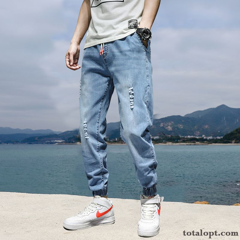 Summer Jeans Europe Pants Men's Spring Trend Loose Blue Harlan All-match Tooling Leisure Paleturquoise Raw White Discount