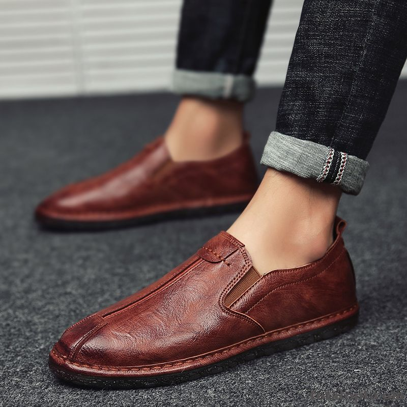 Summer New Casual Leather Shoes Men's Trend Slip On Slip-on Loafers Peach Blossom Pansy For Sale