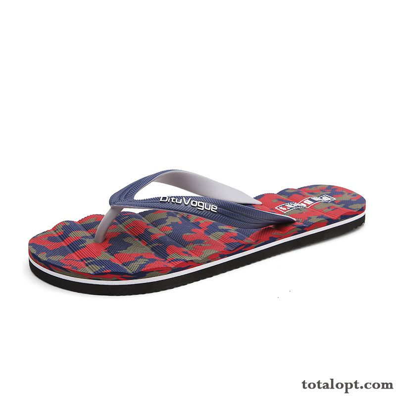 Summer Outwear New Trend Flip Flops Camouflage Men's Beach Red Slippers Personality Tea Green Violet