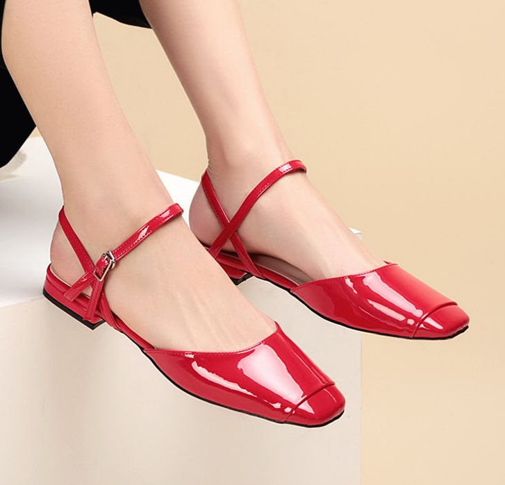 Sweet Women Spring Patent Leather New Red Fashion Earth Yellow Iridescent For Sale