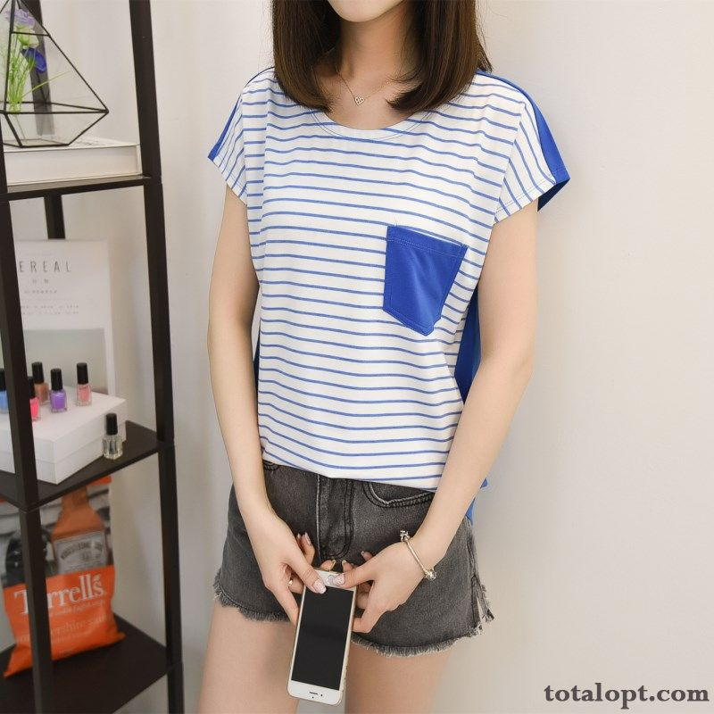 T-shirt Lady Blue Women's Bottoming Shirt Europe Loose Long Sleeves Spring Round Neck New Products Thin Stripes Misty Gray Darkgreen