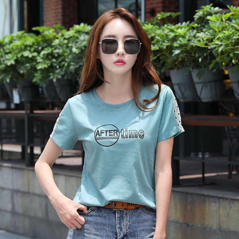 T-shirt Net Yarn Cotton New Loose Half Sleeve Shorts Summer Women's Coat Blue Pure Lady Brown Silver White