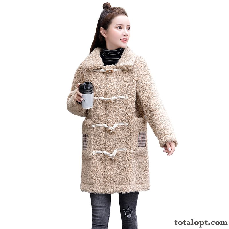 Temperament All-match Fashion Long Section Woolen Warm Personality Elegant Pure Leisure Coat Darkviolet Winered