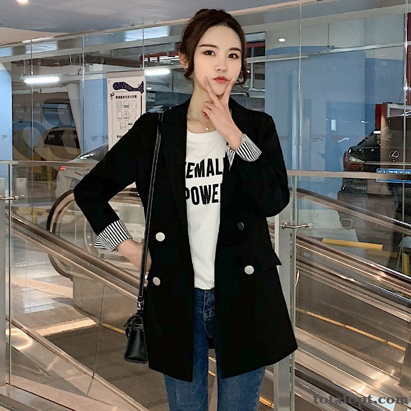 Temperament Europe Spring Coat Women's Suit Leisure Autumn Blazer Red Loose Black Dull Black Palegreen For Sale