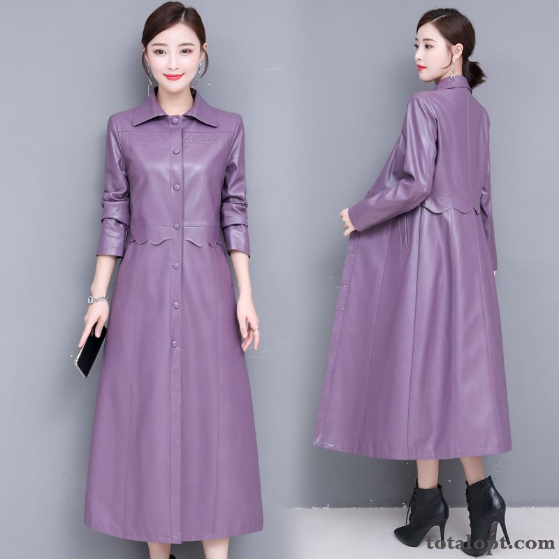 Temperament Fashion Trend Elegant Long Sleeves Long Section Leather Comfortable Autumn Purple Rubine Smoky Gray Sale