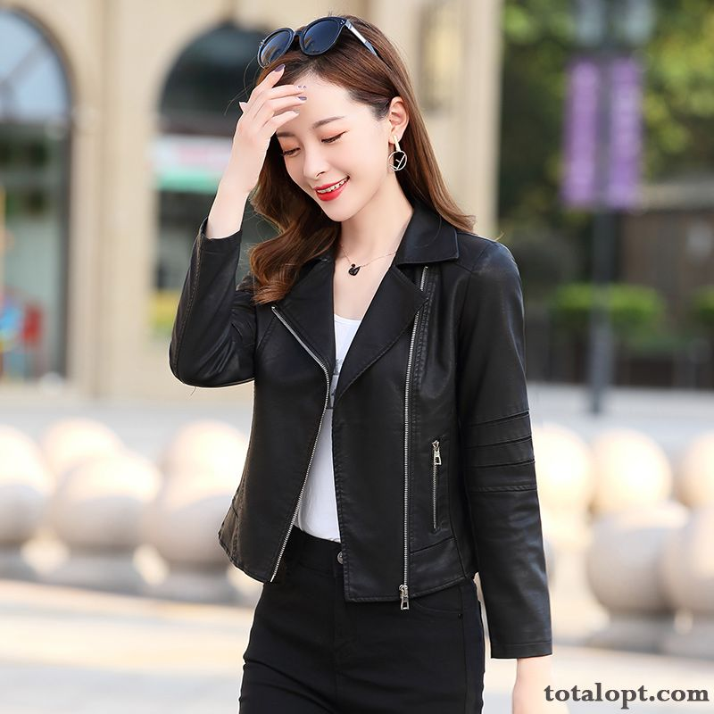 Temperament Leather Trend Elegant Leisure Comfortable Autumn Personality Black Long Sleeves Fashion Rose Violet Sky Blue For Sale