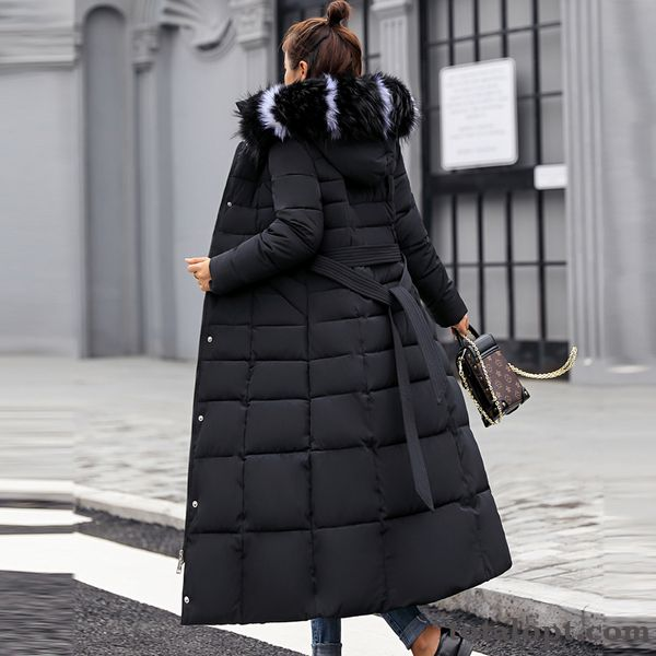 Temperament Loose Long Section Winter Coat Black Europe Cotton Slim Large Size Pansy Peach Blossom For Sale