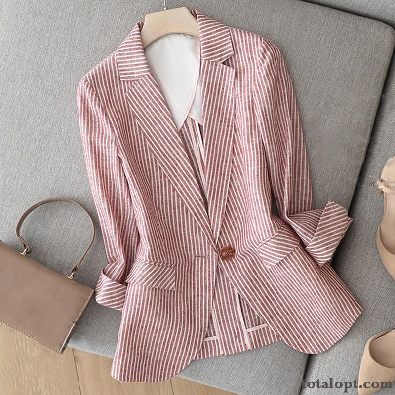 Temperament New Red Coat Leisure Suit Blazer Slim Autumn Cotton Skinny Professional Women's Stripes Thin Europe Ultramarine Breen For Sale