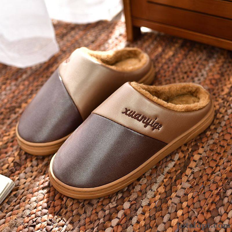 Thermal Indoor Home Thick Sole Winter Waterproof Leather Anti-skid Men's Slippers Pale Purple Orange