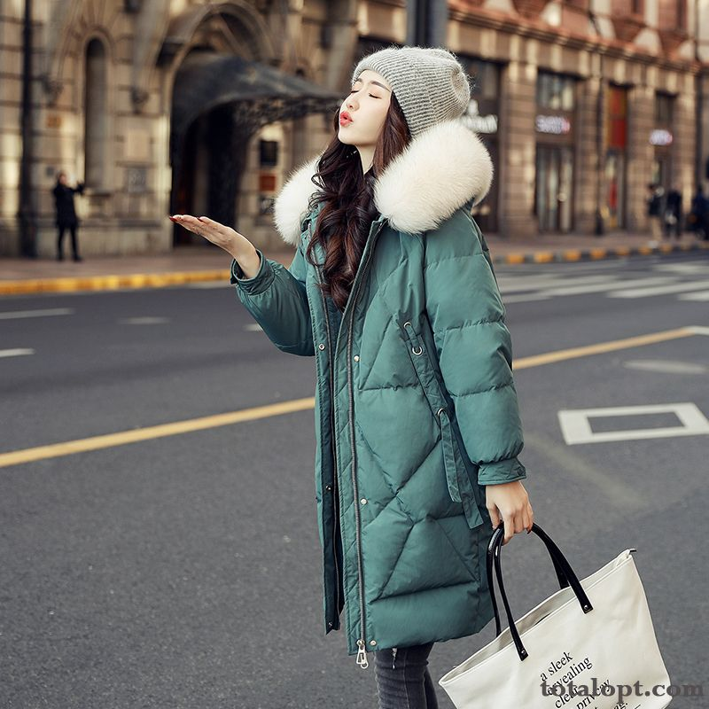 Thickening Long Section Europe Thin Winter Loose Student Fashion Down Jacket Big Fur Collar Women's New Fox Sandy Beige Nude Sale