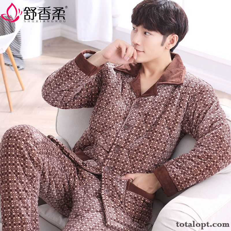 Thickening Pajamas Men's Robes Winter Cotton Salmon Blue Green