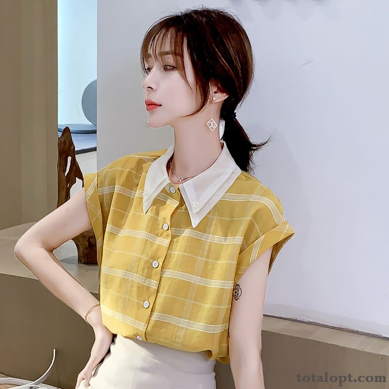 Thin Net Yarn Summer Coat Lapel Shirt Shorts Women's Checks Loose Chiffon Vermeil Iris Discount