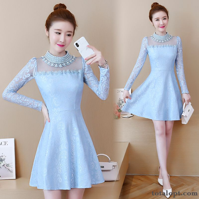 Thin Spring Lace New Women's Blue Long Section Temperament Peach Blossom Dull Black Discount