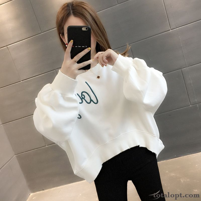 Trend All-match New White Women's Autumn Hoodies Coat Short Oyster White Turquoise Online
