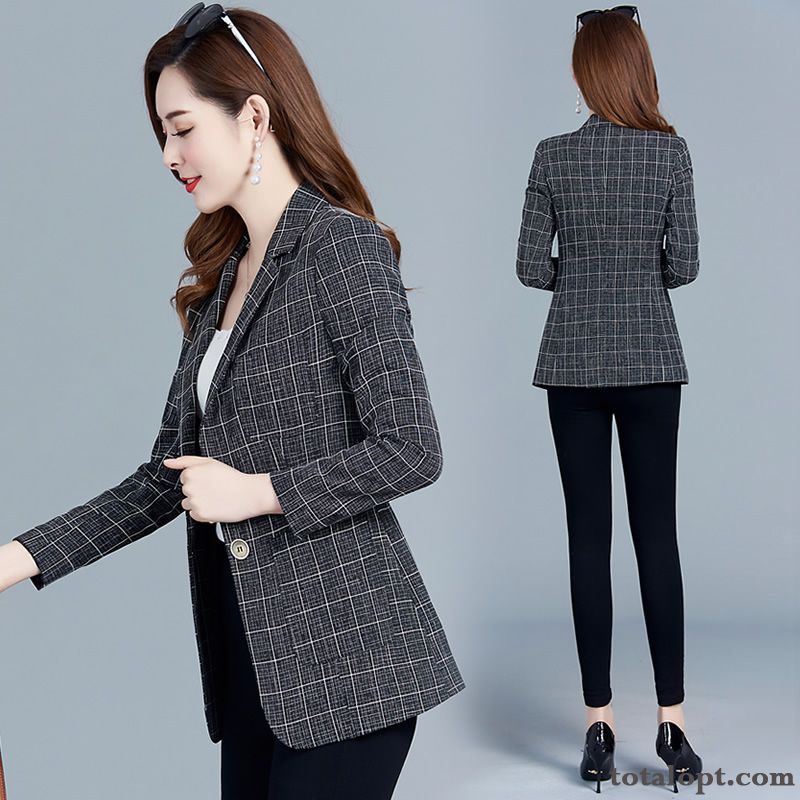 Trend Black Spring Checks Temperament Blazer Fashion Coat Skinny Suit Lady Europe New Short Autumn Grey Iridescent