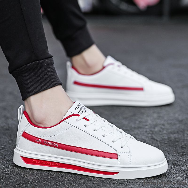 Trend Causal Shoes British All-match Spring New Fashion White Men's Red Green Darkviolet Sale