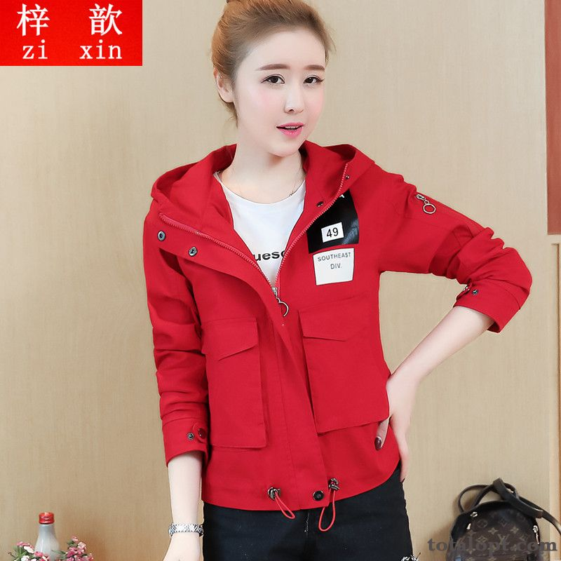Trend Coat Slim Autumn Shorts New Loose Red Preppy Style Jacket Women's Long Sleeves Spring Hooded Iridescent Modena Discount