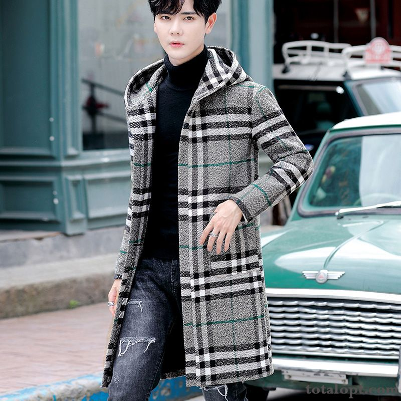 Trend Long Section Hooded Woolen New Men's Europe Overcoat Gray Youth Checks Azure Offwhite