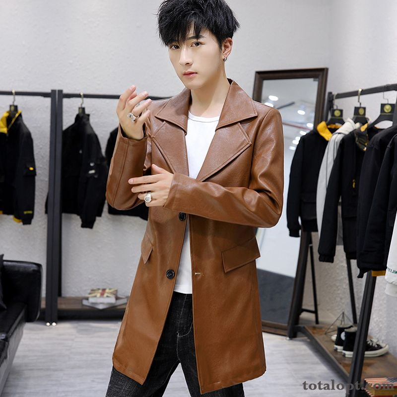 Trend Long Section Leather Youth Slim Spring Autumn Men's Jacket Europe Coat Reddle Ivory White