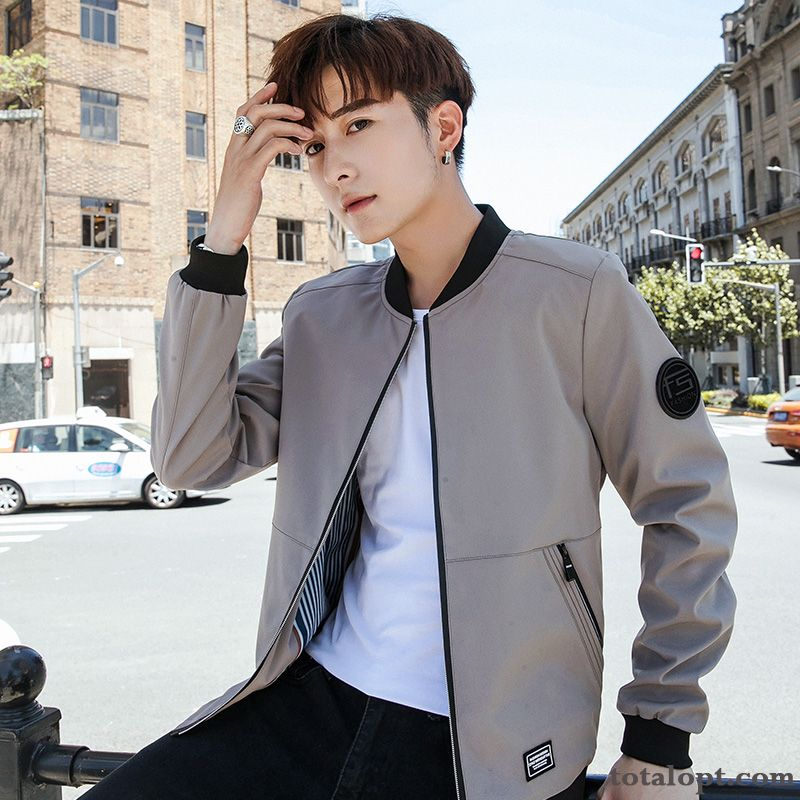 Trend Men's Leisure Coat Student Jacket New Spring Autumn Europe Ivory Pitch-dark Sale