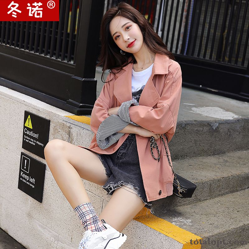 Trend Pink Bat Tooling New Loose Autumn Women's Coat Europe Jacket Short Sallow Blue Discount