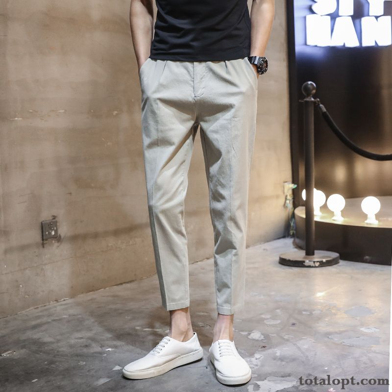 Trend Skinny Ninth Pants Trousers Leisure Autumn Men's Slightly Slim Europe Black Sallow Dull Black