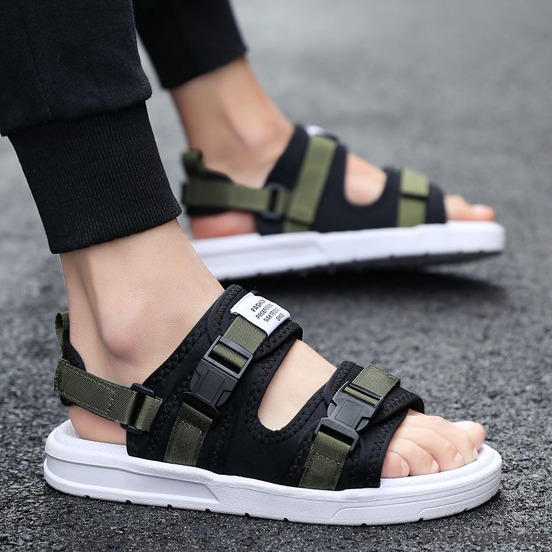 Trend Slippers Beach Green Anti-skid Summer Black Breathable All-match Teens Sandals Men's Outwear Tea Green Skyblue For Sale