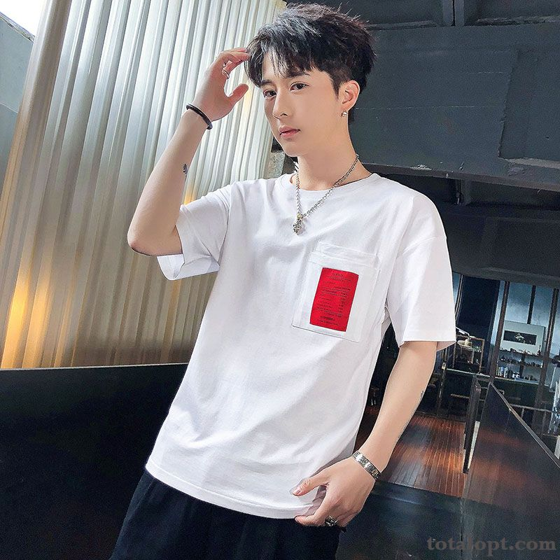 Trend Summer Men's T-shirt White New Half Sleeve Europe Loose Coat Leisure Shorts Nude Darkviolet For Sale