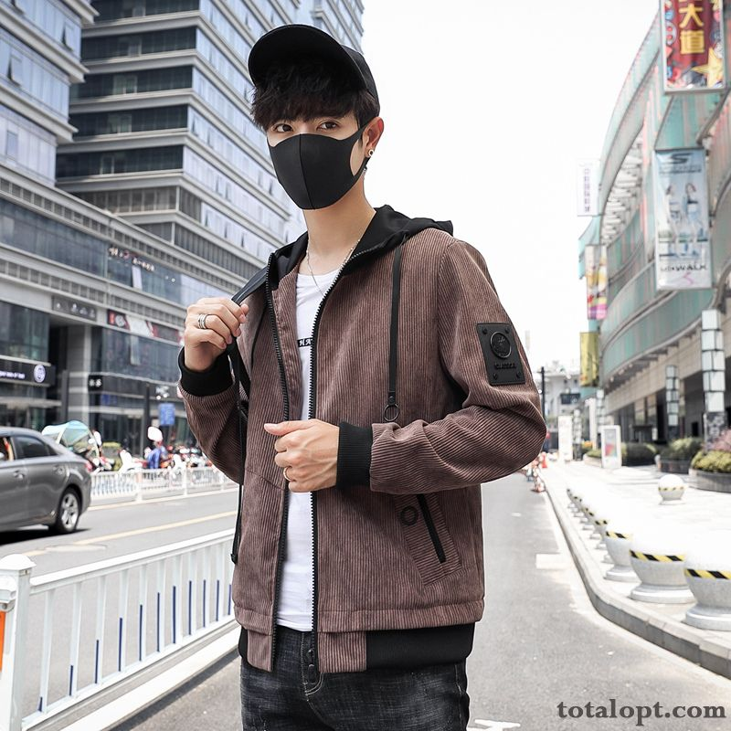 Trend Tooling Autumn Europe Winter Fashion Hooded Men's Slim Jacket Brown Coat Leisure Gray Coffee Online