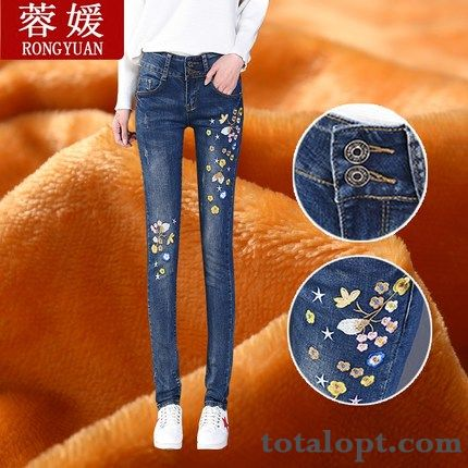 Trend Women's Trousers Thickening Plus Velvet New Jeans Embroidery Thin Winter Warm Europe Pencil Pants High Waist Pitch-dark Modena Online