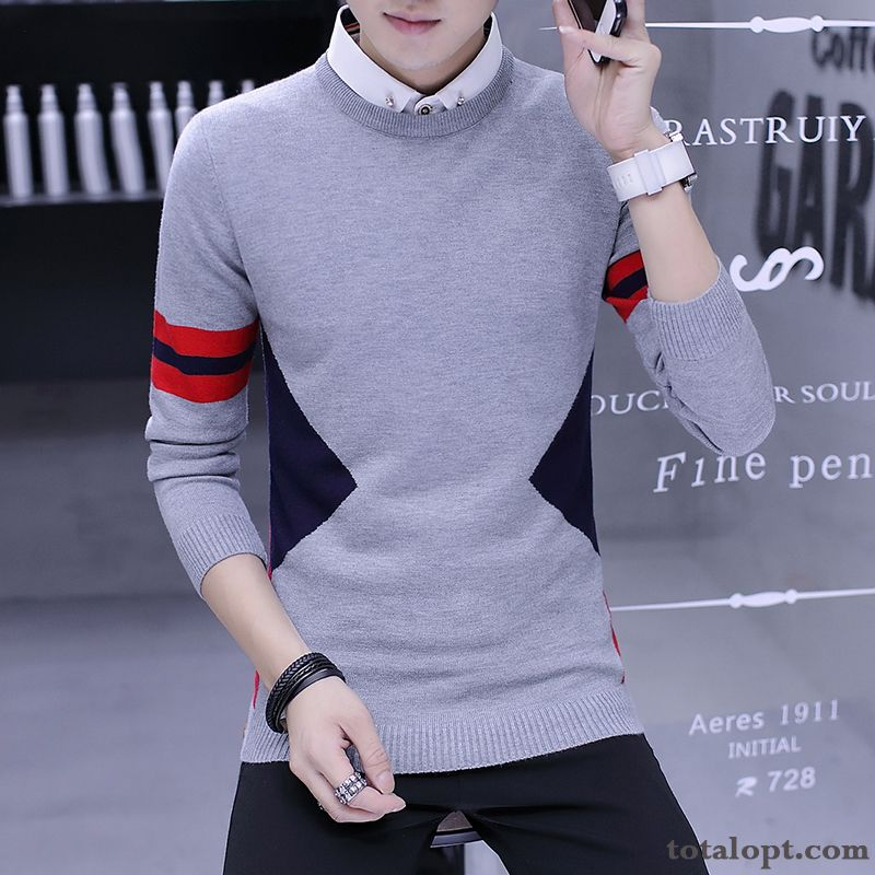Trend Youth Gray Autumn Europe Slim Sweater Men's Long Sleeves Bottoming Shirt Skinny Grape Rubine For Sale
