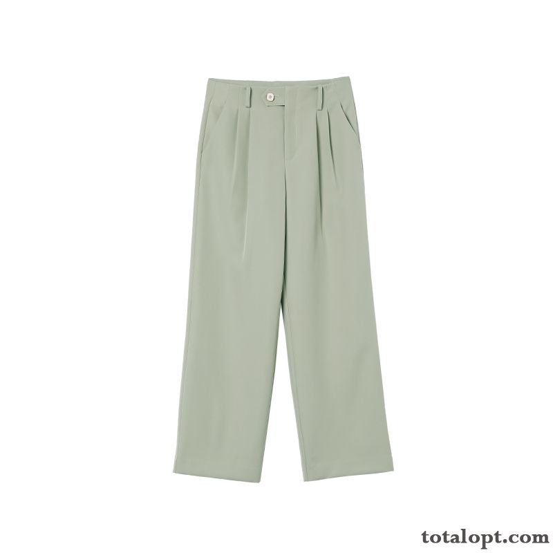 Trousers Pants All-match Autumn High Waist Loose Spring Women's Straight Thin Leisure Greenyellow Powderblue