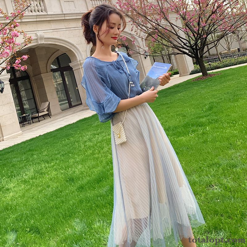 Two-piece Suit New Women's Popular Net Yarn Chiffon Summer Blue Long Skirt Shocking Pink Black Discount