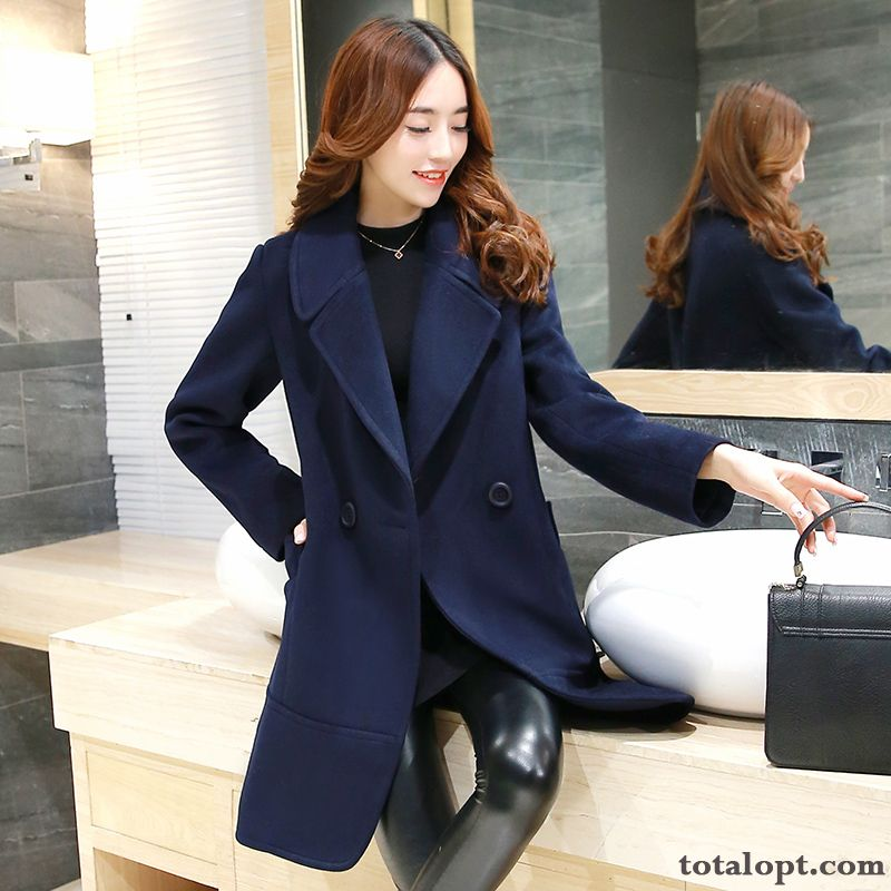 Warm Long Section Women's New Woolen Overcoat Thin Winter Clothes Thickening Slim Pure White Nude Discount