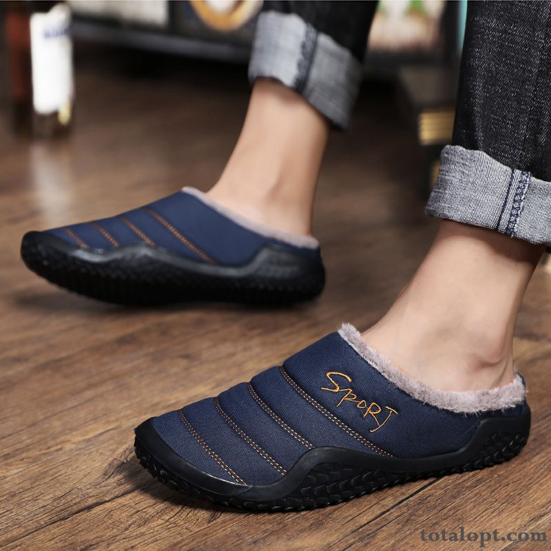 Waterproof Causal Shoes Home Men's Cotton Shoes Winter Plus Velvet Outdoor Blue Thermal Deep Slippers Violet Silver White