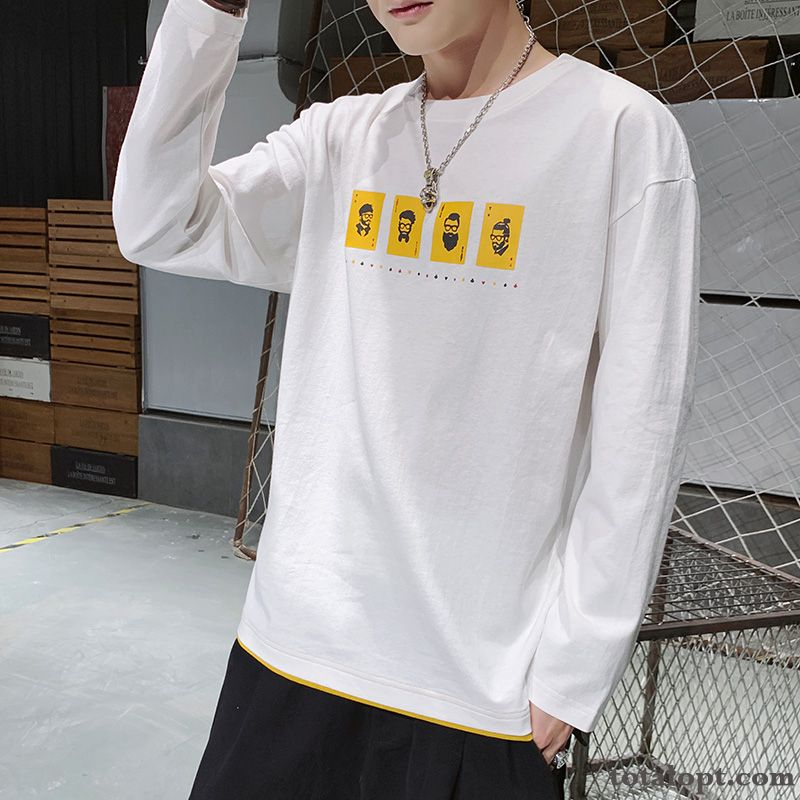 White Autumn T-shirt Trend Long Sleeves Loose Spring New Men's Pearl White Rose
