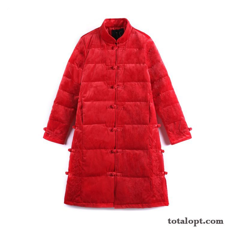 White Long Section Red Hot Style Duck Down Women's New Down Jacket Azure Chocolate