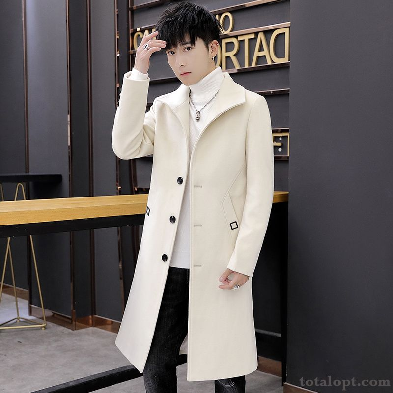 White Long Section Winter New Men's Youth Woolen Overcoat Autumn Suit Europe Paleturquoise Black Online