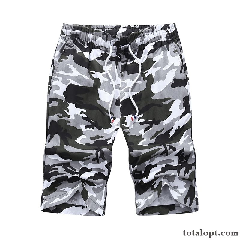 White Loose Pants Short Pants Shorts Men's Leisure Summer Big Camouflage Europe Trend Tooling Beach Tomato Palegreen