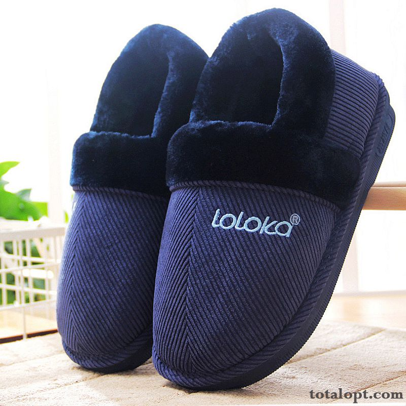 Winter Anti-skid Home Blue Indoor Slippers Cotton Shoes Men's Thermal Turquoise Rainbow