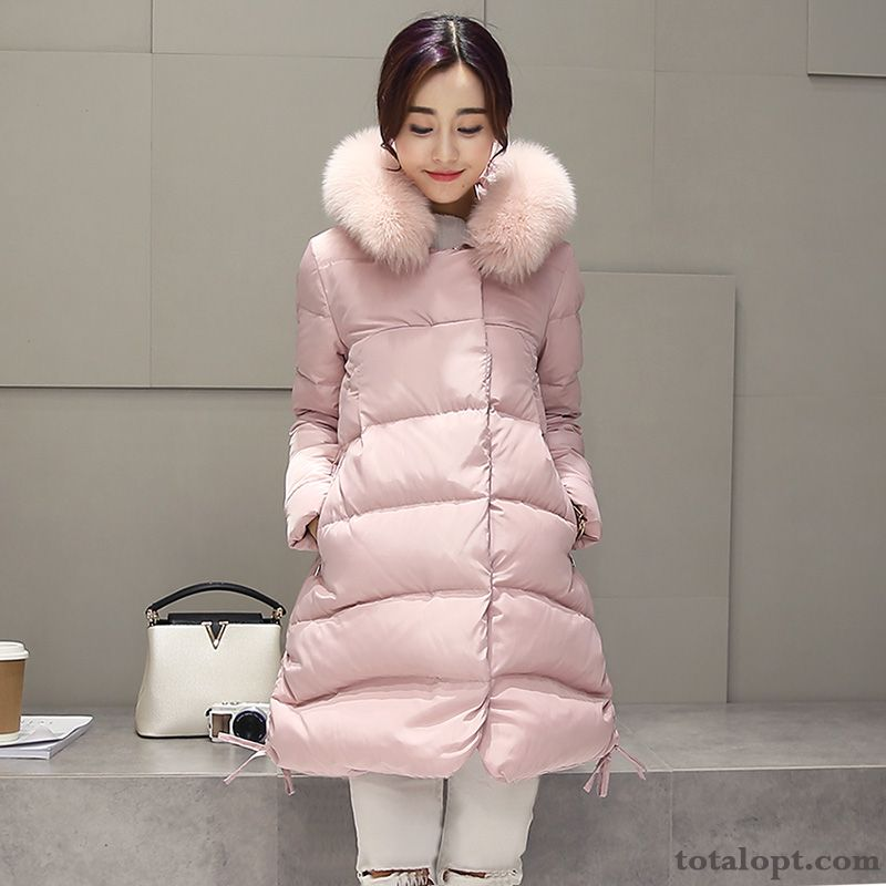 9a7a301144 Winter Clothes Women s Europe Coat Thickening Slim Thin Long Section Down  Jacket Big Fur Collar New