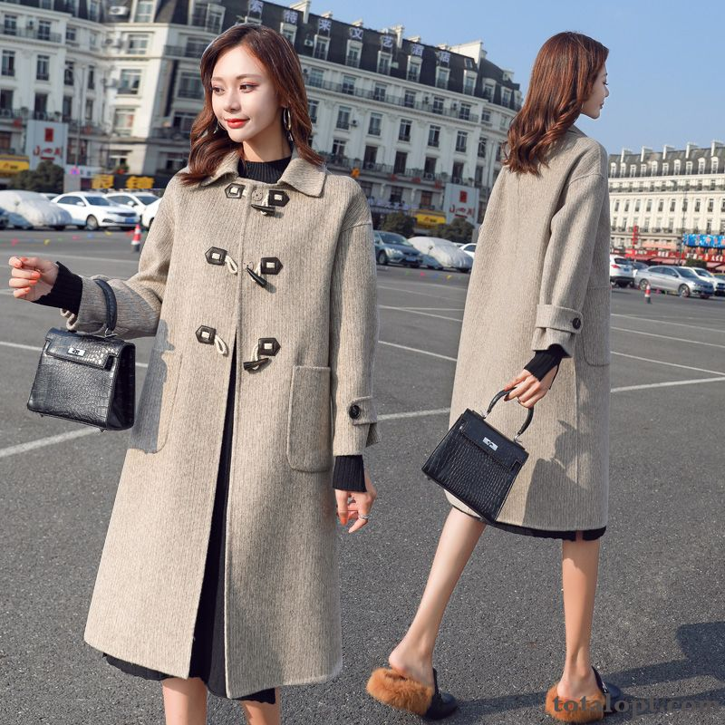 Winter Fashion Elegant Loose Simple Woolen Temperament Leisure Gray Big Coat Personality Rose Violet Coral For Sale