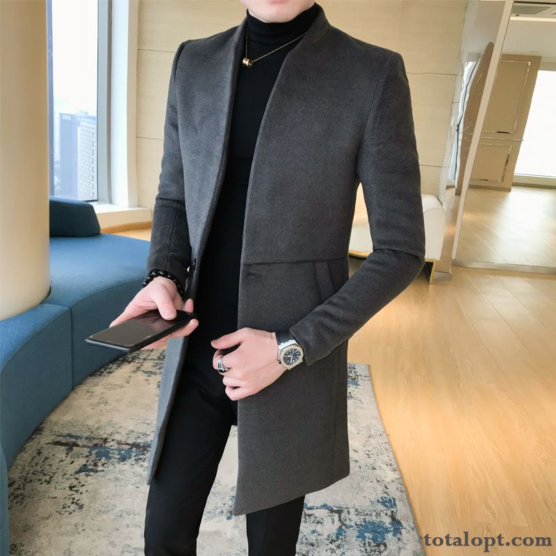 Winter Gray Woolen Trend Long Section Youth England Dark Men's Coat Slim Overcoat Europe Stand Collar Autumn Coffee Lilac