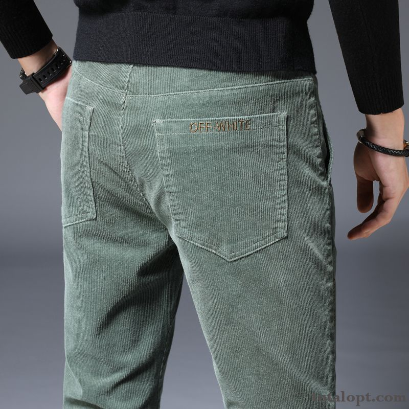 Winter Men's Autumn Pants Trousers Spring Corduroy Leisure Winter Clothes Snowy White Misty Gray